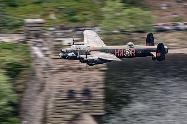 BBMF Lancaster passing the towers of the Derwent Reservoir, re-enacting the training maneuvers required for Operation Chastise, earlier this year. ( Image Credit: Air Team Canon)