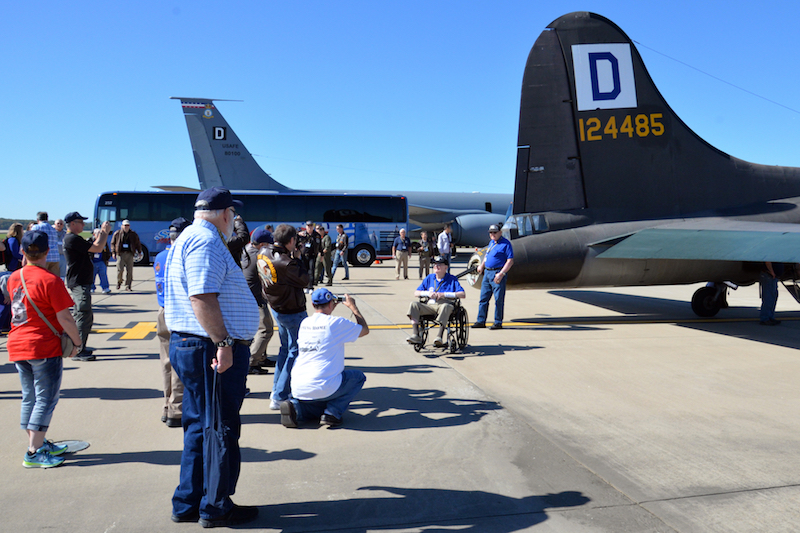 Members of the 100th Bomb Group Foundation inspect a B-17 Flying Fortress and KC-135 Stratotanker on static display at Washington Dulles International Airport, Va., Oct. 19, 2017. The foundation hosted a reunion for members of the original 100th Bombardment Group from World War II. (U.S. Air Force photo/Tech. Sgt. David Dobrydney)