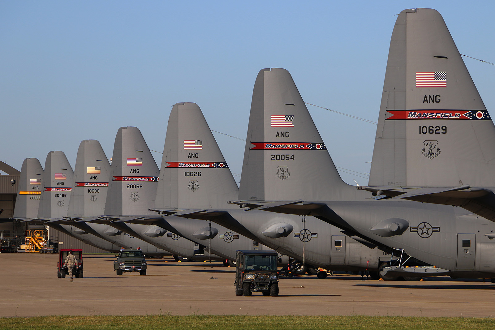 179th Air Wing C-130s in Mansfield, Ohio. At least one of these magnificent beasts will be on display at Port Clinton. (photo Tech. Sgt. Joe Harwood via 172nd AW)