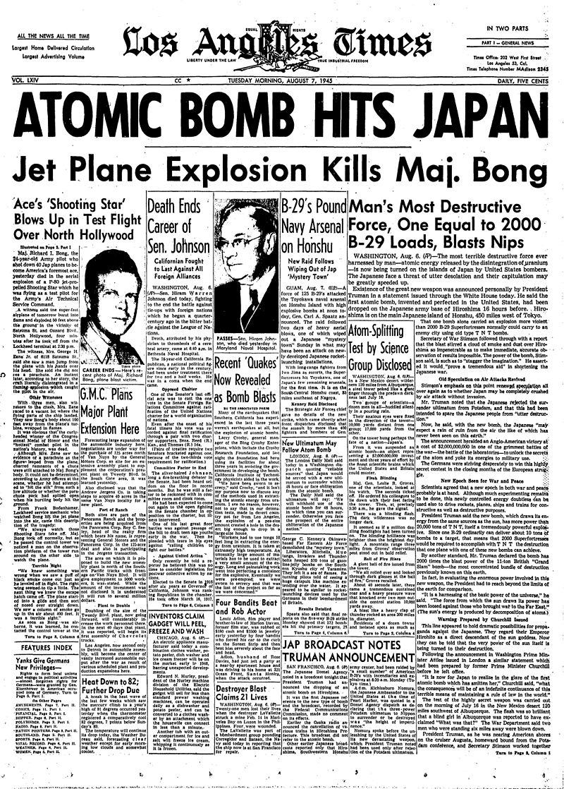 1945-08-07-Los-Angeles-Times-front-page