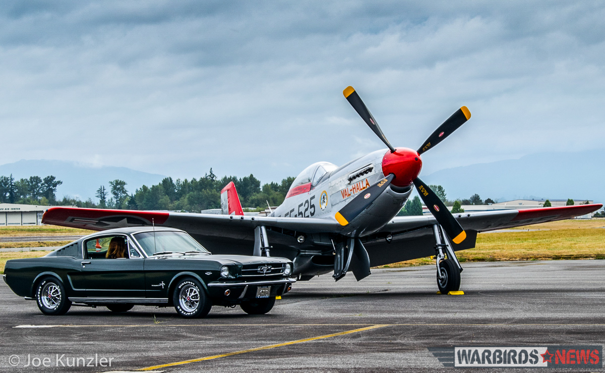 A 1965 Ford Mustang and the museum's 1945 North American P-51D Mustang will be part of next month's Mustangs event. (photo by Joe Kunzler)