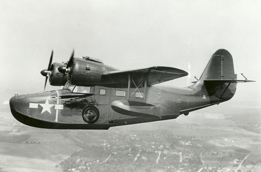 A U.S. Navy Grumman JRF Goose. The same type was the first aircraft to land on a NAS Kahului runway, under the control of base Commander Phil Haynes. [Photo Credit: National Archives]