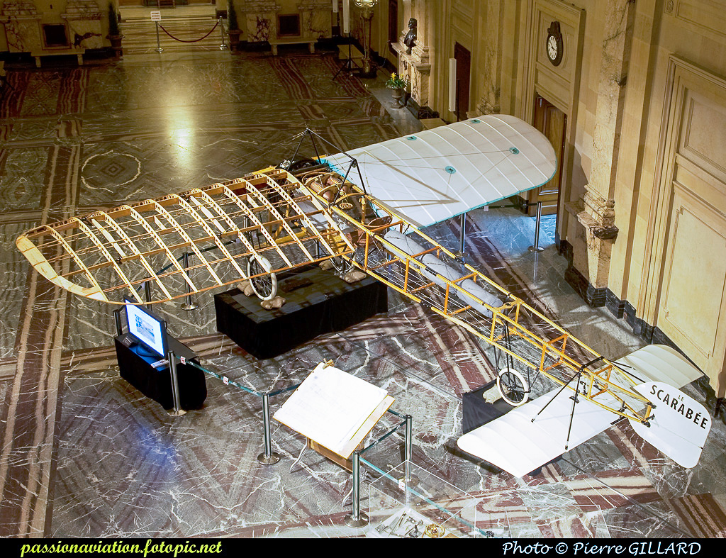 The Bleriot on display during its construction showing off the interior construction. (photo by Pierre Gillard)