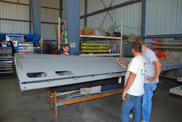 Preparing the right hand outer wing panel for installation on the aeroplane - Feb.2011 - Dan Newcomb photo