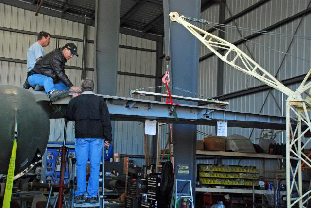 Installing the right hand outer wing panel on the aeroplane - Feb.2011 - Dan Newcomb photo