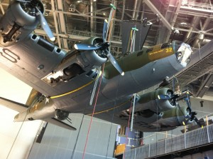 """""""My Gal Sal"""" being hoisted into place in the WWII Museum's atrium."""