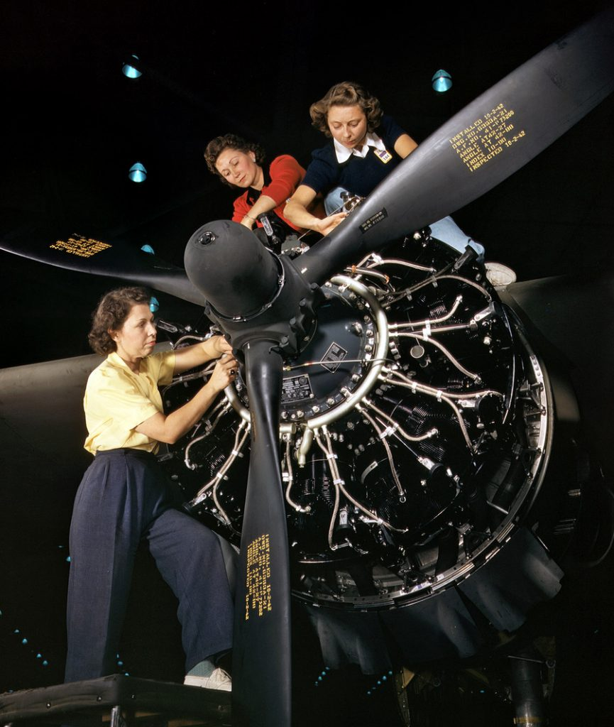 Women at work on bomber, Douglas Aircraft Company, Long Beach, California in October 1942.