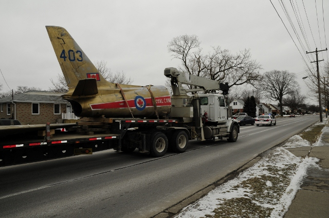 Sarnia Police assisted in the escort of a Sabre F-86 Mk5 Jet through the city t