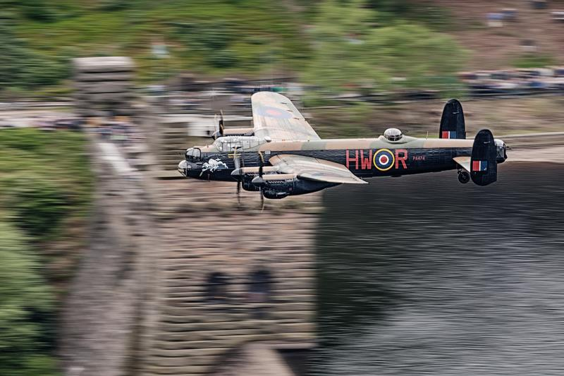 BBMF Lancaster passing the towers of the Derwent Reservoir ( Image Credit Air Team canon)