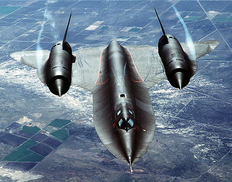 An air-to-air overhead front view of an SR-71A strategic reconnaissance aircraft. ( Image credit: Wikepedia)