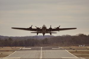 The B-17 Taking Off From Runway 34 at Peachtree Dekalb Airport.