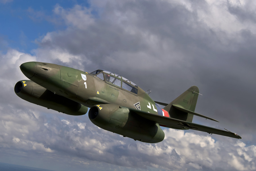 "Me 262 ""White 1"" in flight:  Imagine being at the controls of this pioneering jet, truly a once in a lifetime experience. (Photo Credit: David Lenininger)"