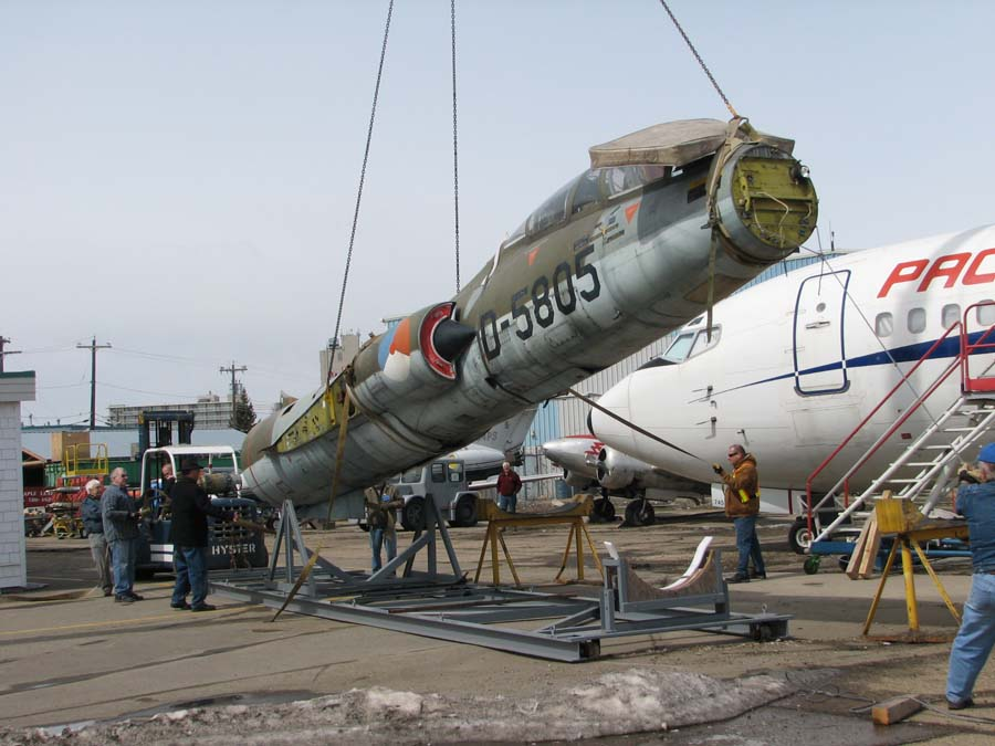 The museum's Starfighter is lifted from its shipping cradle. (Image Credit: Alberta Aviation Museum)