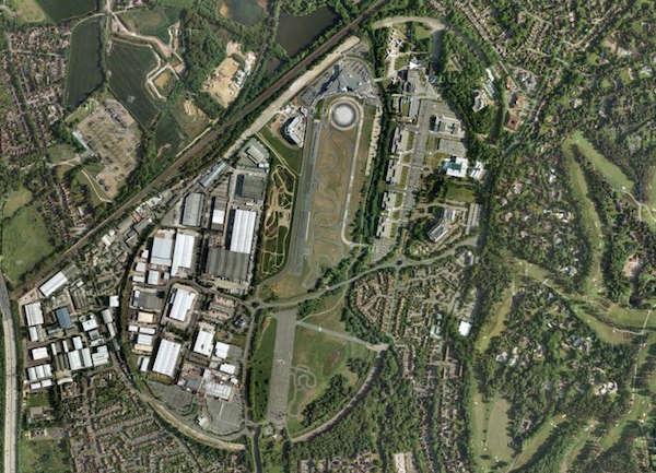 Brooklands today: Outline of the original track and portions of airfield are still evident despite extensive deterioration and encroachment of development. (Image Credit: Google, Bluesky, Digital Globe, Getmapping, plc and Infoterra Ltd)