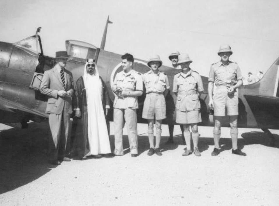 Kuwaiti Ruler, Sheikh Ahmad Al-Jaber Al-Sabah pictured with an RAF Spitfire, May 1944. (photo courtesy of the Trustees of the Royal Air Force Museum)