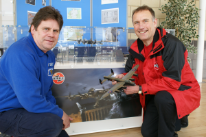 Gary Stevens of the Shropshire Scale Modellers and Darrell Burge of Airfix pose with model of Avro Lancaster.