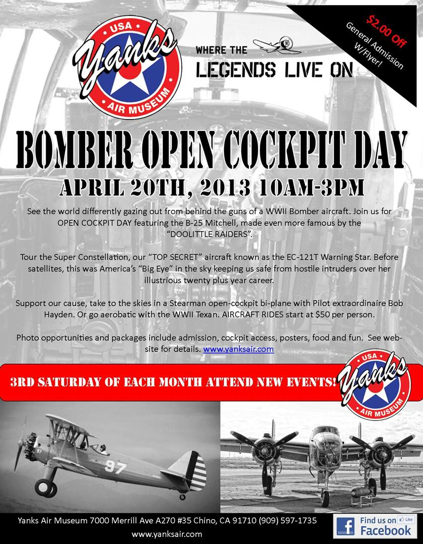 Yanks Air Museum Bomber Open Cockpit Day- 4/20/13 | Warbirds News