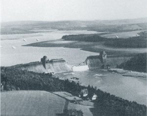 Möhne Dam the Following day. Note the former waterline behind the dam.