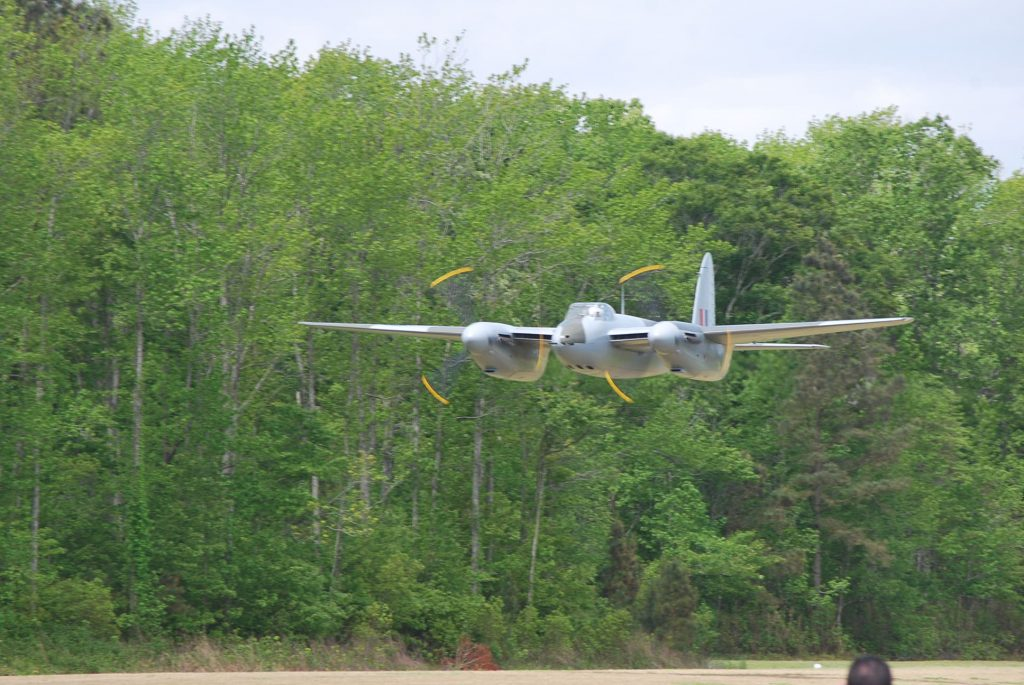 De Havilland Mosquito performs a low pass at the Fighter Factory's airfield this morning for FAA Inspectors.<br />(Image Credit: Military Aviation Museum)