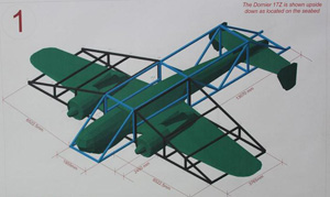 Artist rendering of lifting frame. (Image Credit: Trustees of the Royal Air Force Museum)