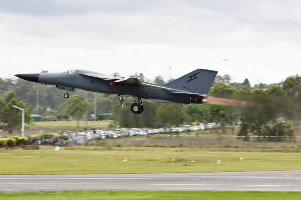 No. 6 Squadron's F-111 A8-109's final take off at RAAF Base Amberley in 2010. The last F-111 takeoff ... ever.