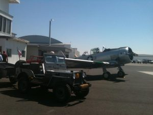 Recent display of vintage plane and jeep during Port of Pasco commissioners' tour (Image Credit : Save the Old NAS Tower in Pasco WA / Scott Urban)