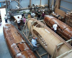 Fabrication of moulded wooden Mosquito fuselage. (Image Credit: Canadian Historical Aircraft Association)