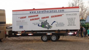 """""""Great Canadian Aircraft Engine Exchange"""" billboard attached to engine trailer for the trip (Image Credit: FARS)"""