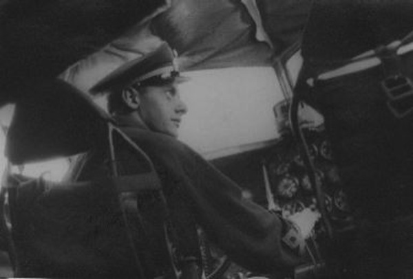 Regia Aeronautica Italiana (Royal Italian Air Force) 1st Lieutenant Dalmazio Corradini at the controls of his Savoia-Marchetti SM.79