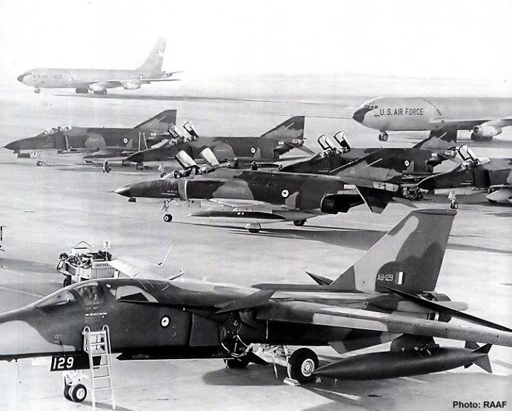 F-111s on the flight line at RAAF Amberley in June, 1973 (Image Credit: RAAF)