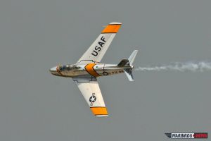 Warbird Heritage Foundation's North American F-86 Sabre Performing at Dayton (Image Credit: Tom Pawlesh)