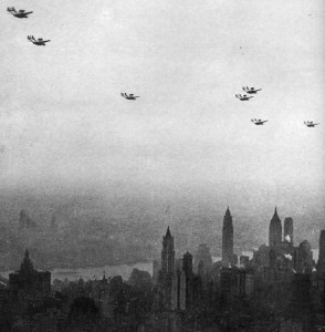 "Italo Balboa's ""Aerial Armada"" overflies Manhattan, stopping off for a ticker-tape parade in his honor and lunch with President Roosevelt on the way home from the Century of Progress Exhibition in Chicago."
