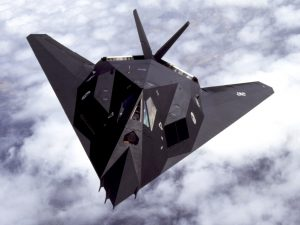 Lockheed F-117 Nighthawk's faceted shape and radar absorbing materials purportedly gave it the the radar cross section of a single ball bearing. (Image Credit: USAF)
