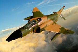"Restored McDonnell Douglas F-4D Phantom II – ""550"" once again in flight in this composited photo. (Image Credit: Aviation Heritage Park)"