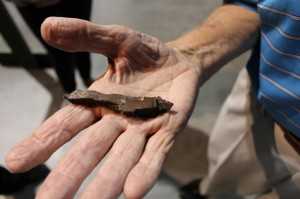 Norris holds a piece of shrapnel that punched through the fuselage and landed next to his leg during a mission. (Image Credit: Museum of Aviation)