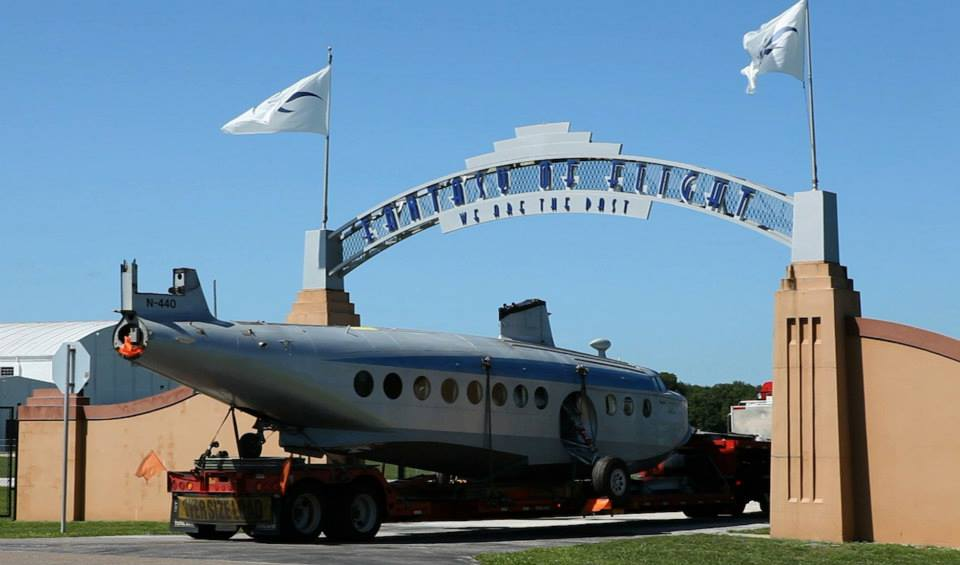 Disassembled and trucked from Texas, the S-43 arrived at Fantasy of Flight last Thursday. (Image Credit: Fantasy of Flight)