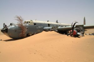 "SAAF Shackleton ""Pelican 16"" lays where she landed, in the Sahara Desert. (Image Credit: Alexei Shevelev, GNU FDL 1.2)"