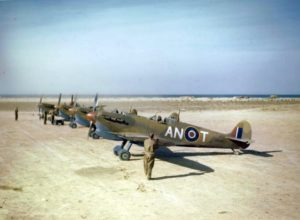 Allied Supermarine Spitfire Mark V's, modified for tropical duty, were stationed in Tunisia and Malta and were a potent force in the Mediterranean.