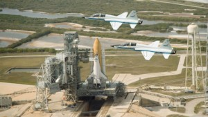 A pair of NASA T-38s overfly the Space Shuttle Endeavor launch pad. (Image Credit: NASA_