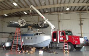 Crane brought in for the heavier lifting (Image Credit: Fantasy of Flight)