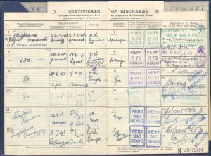 """Discharge book of McLaughlin shipmate, 4th Engineer Officer, William Stewart notes discharge from the Empire Rowan on 3/27/43 """"at sea."""""""