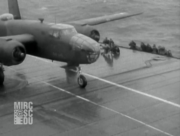Fox Movietone News Story on Doolittle Raid on Tokyo. The film clip shows bombers as they set out from an aircraft carrier in the Pacific to bomb Tokyo and other Japanese cities. (Image Credit : USC library)