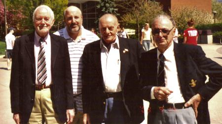 L to R: Geoffrey Morley - Mower, Ray Duke, Dalmazio Corradini and Charles Edmondson, Australian Air Attache to the USA at a WWII Seminar in the late nineties. (Image Credit: Ken Arnold)