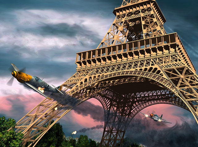 Detail of Len Krenzler of Action Art's painting of the Berlin Express's Eiffel Tower victory. (Image Credit: Len Krenzler / Action Art )
