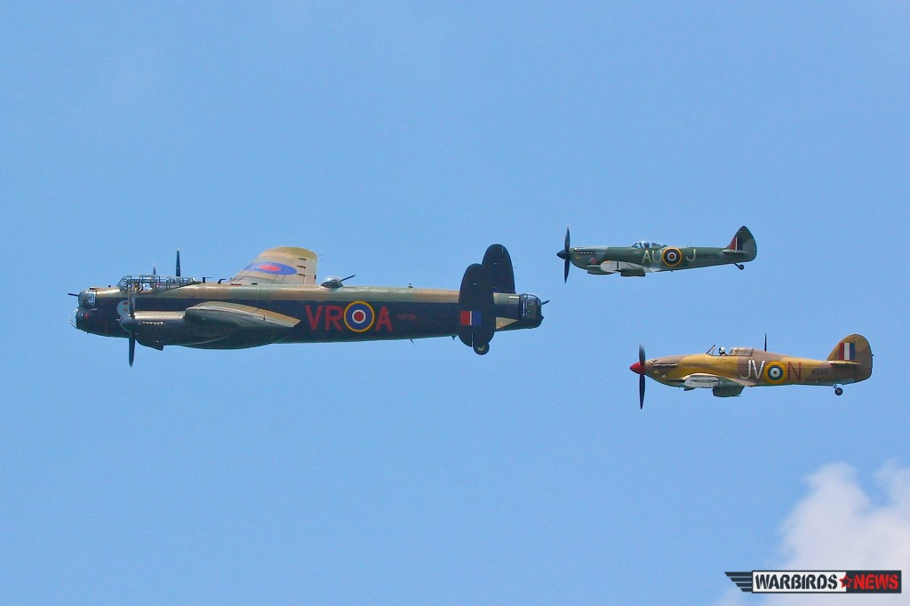 Great Britain's pride: The AVRO LANCASTER MK. X  from the Canadian Warplane Heritage , the Supermarine Spitfire Mk XVI of Vintage Wings of Canada and the Hawker Hurricane Mk IV again from Vintage Wings of Canada. (Image Credit: Tom Pawlesh)