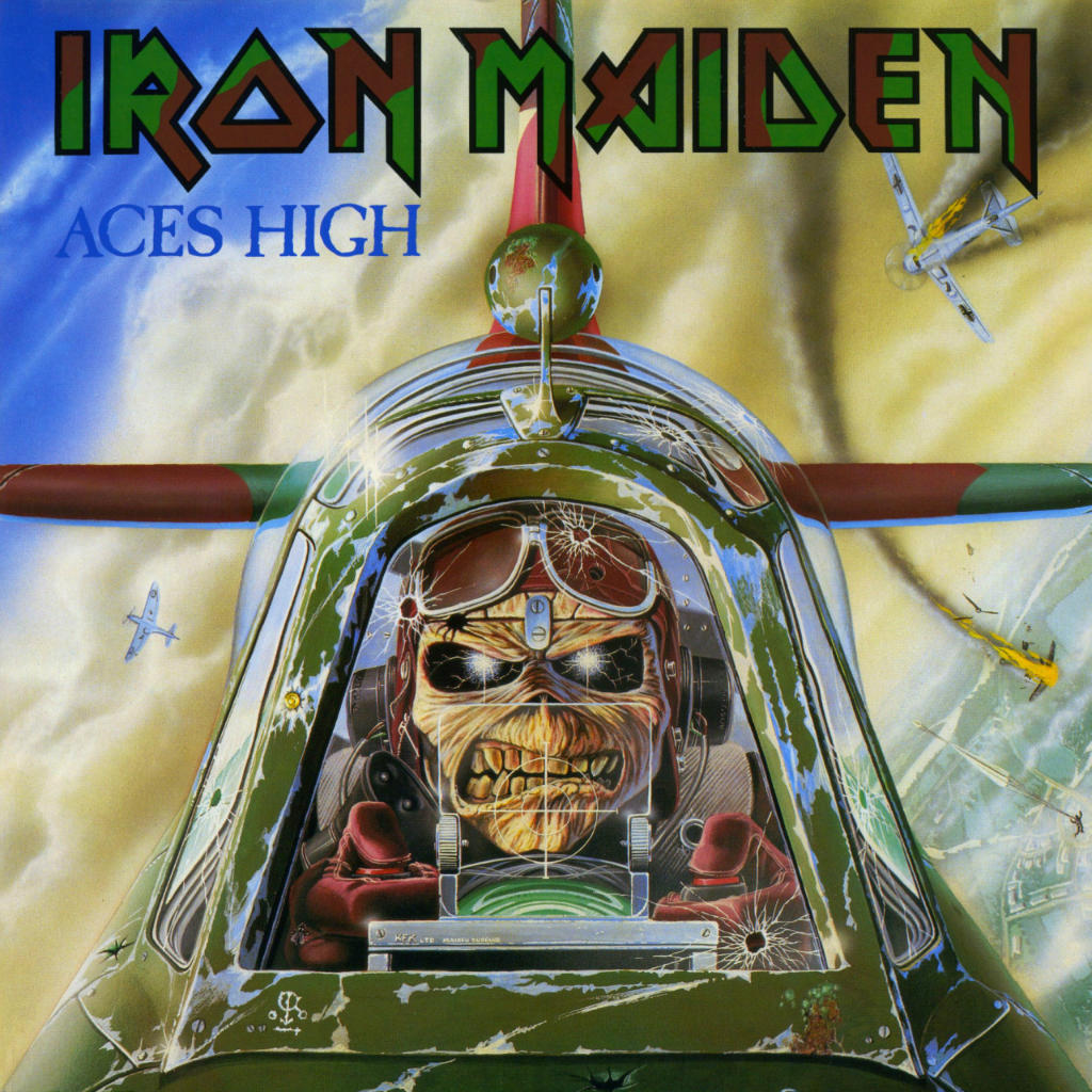 "Iron Maiden's ""Eddie"" flying a Spitfire for the cover art of ""Aces High"" (Image Credit: Iron Maiden)"