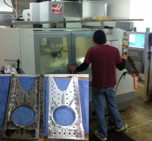 Computerized Milling machines make exact duplication of parts easy and (relatively) inexpensive. Inset is original and new landing gear support. (Image Credit: Vultures Row Aviation)