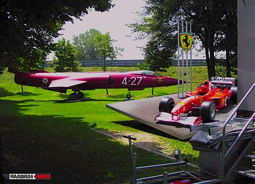 The F-104 dedicated to Ferrari and the unforgotten victory of Gilles Villeneuve on display at  Fiorano autodrome, Ferrari's test track.