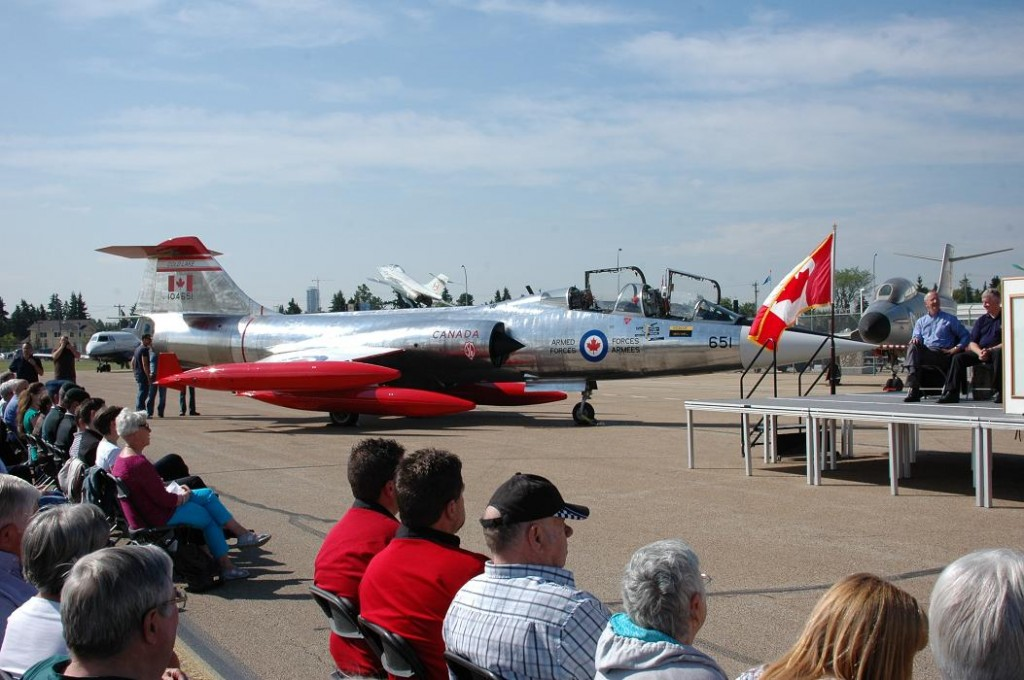 Former Royal Netherlands Air Force Canadair CF-104 D5805 unveiled as RCAF 104651 at the Alberta Aviation Museum on 8/17/13 (Image Credit: Gerry van Dyk)