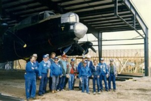 Finally under cover, FM159 is placed in its new home in 1991. (Image Credit: Bomber Command Museum of Canada)